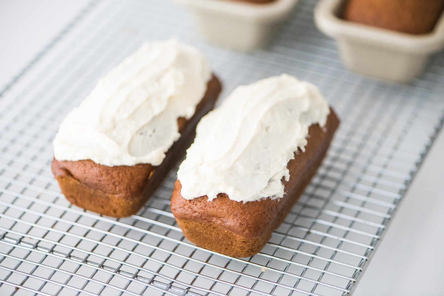 Mini Pumpkin Spice Loaves with Cream Cheese Icing