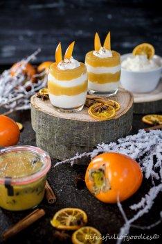 Kaki-Orangen-Mango-Fruchtaufstrich und ein Persimon-Mascarpone-Dessert
