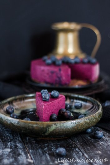 Blaubeer-Cheesecake beim 1. Foto Workshop