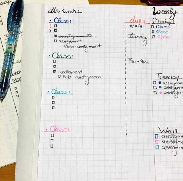 bullet journal bujo page idea layout setup spread weekly to do school01
