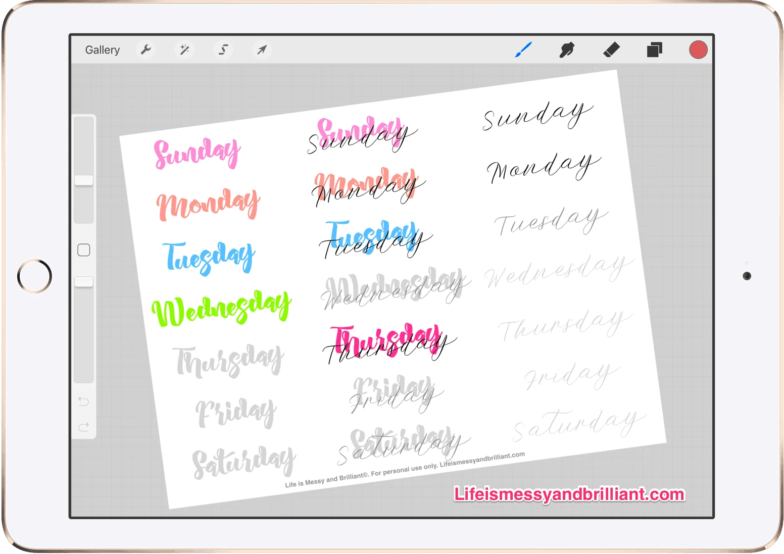 Free Days Of The Week Lettering Bullet Journal Printable