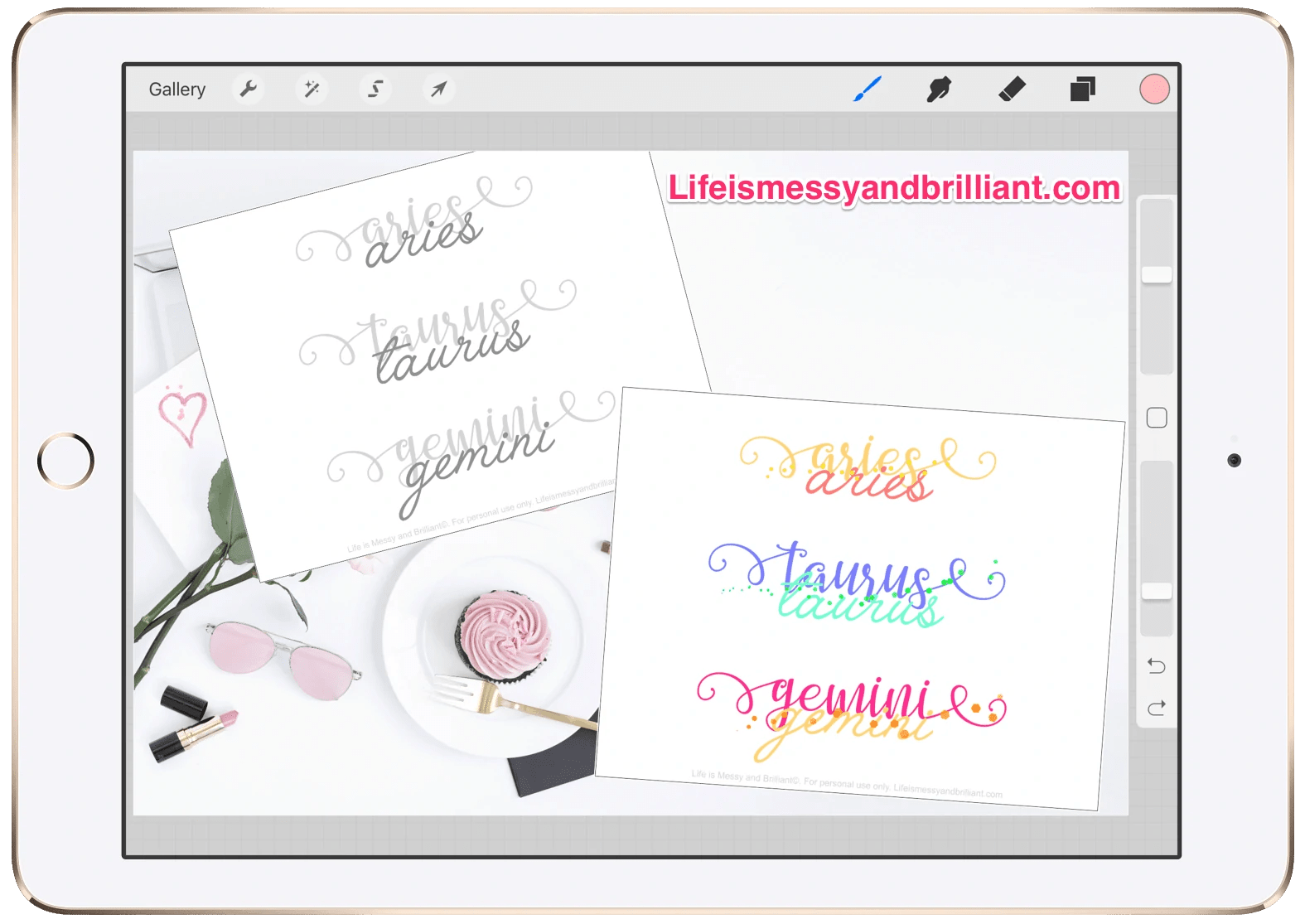 Free Names Of The Zodiac Signs Lettering Printable