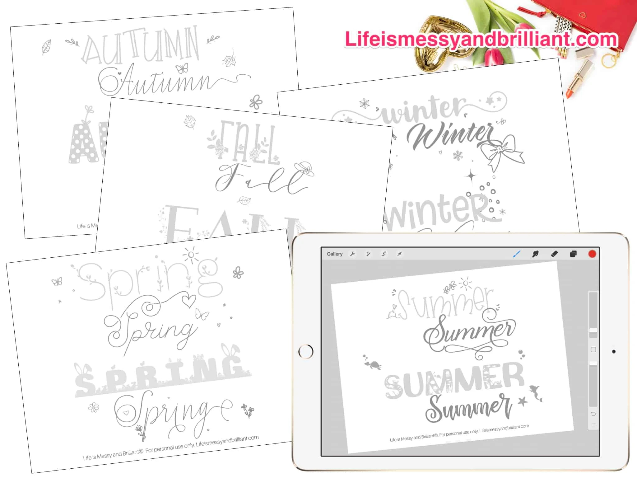 Free Seasons Of The Year Hand Lettering Practice Worksheets