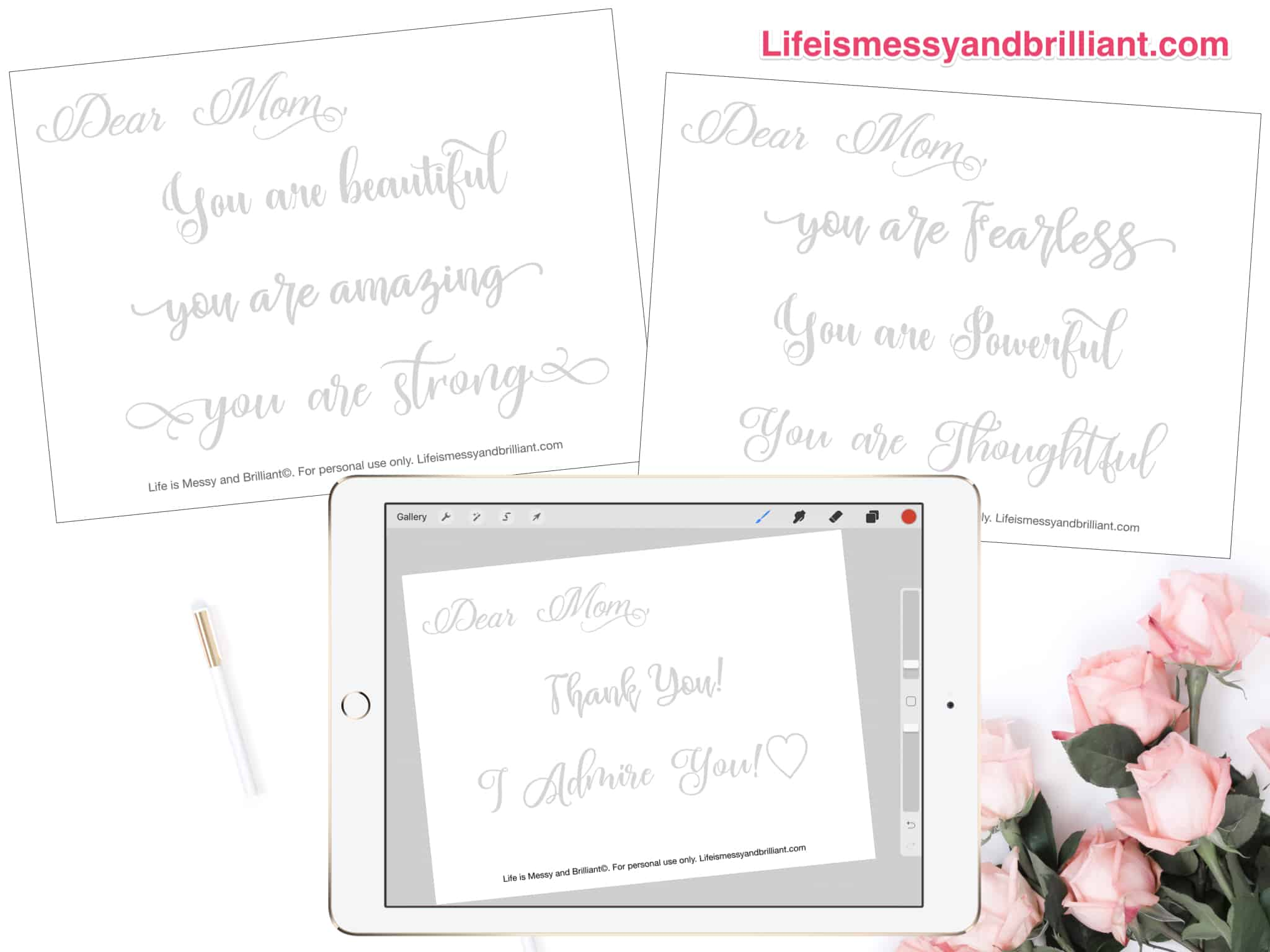 Free Dear Mom Hand Lettering Practice Worksheets