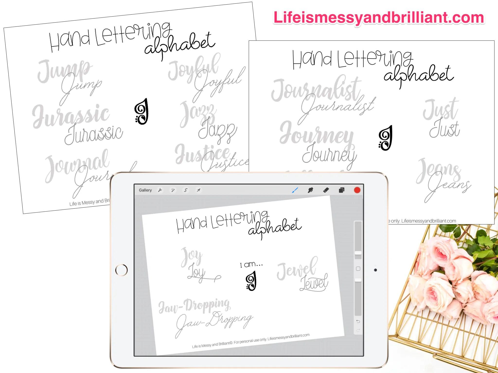 Free Letter J Hand Lettering Alphabet Practice Worksheets