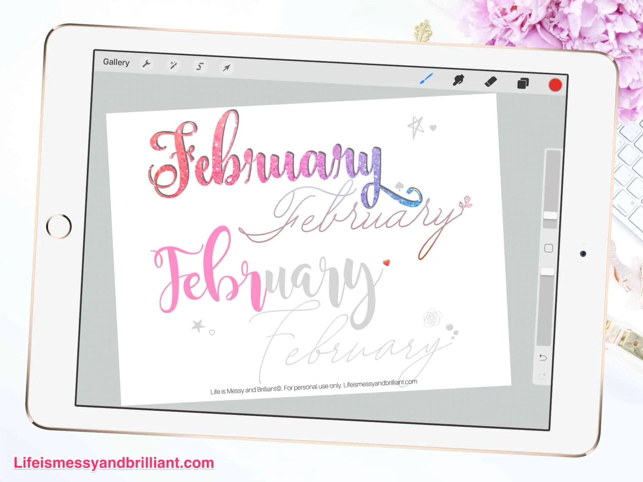 Free February Hand Lettering Practice Worksheet