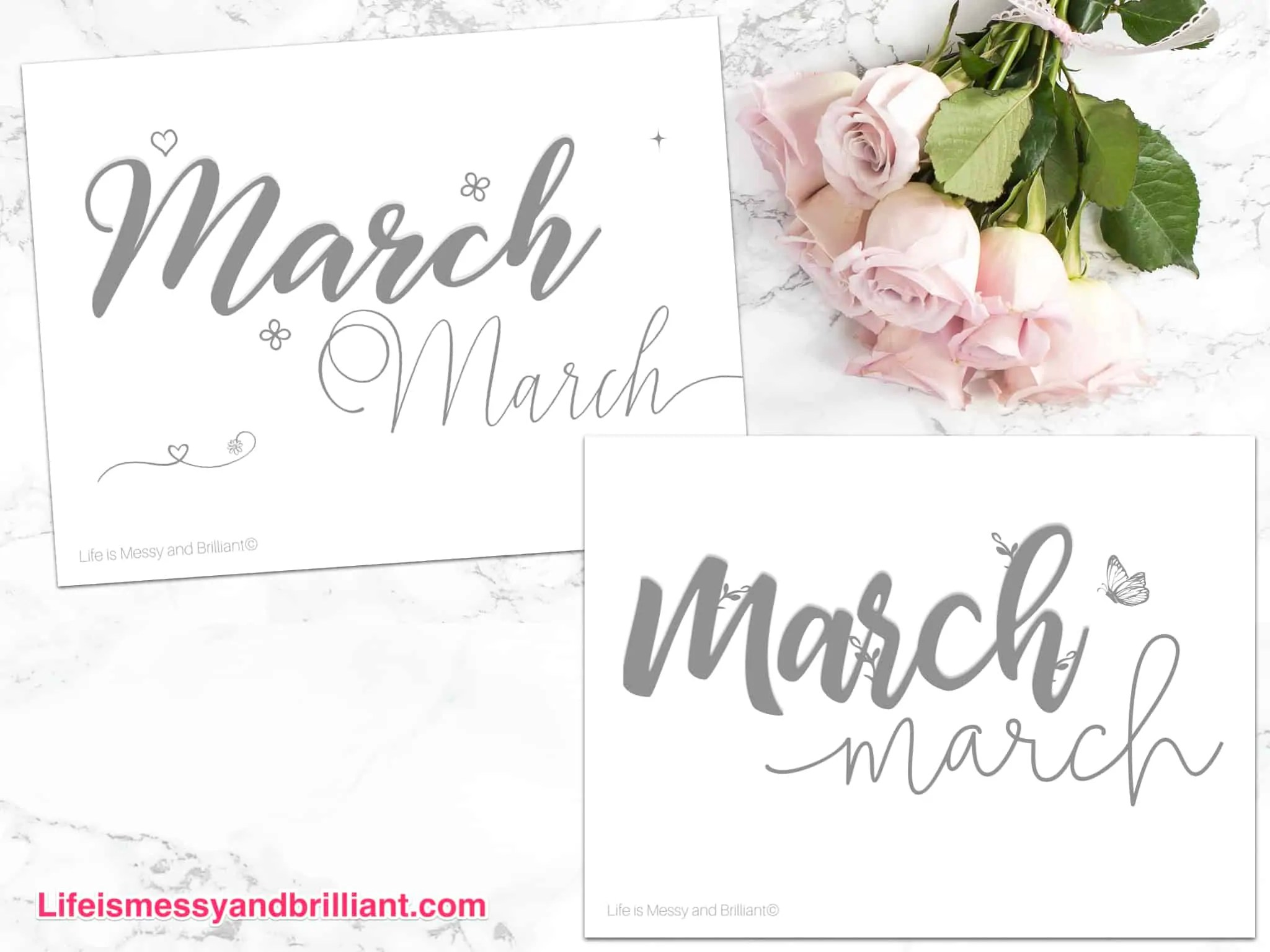 Free March Hand Lettering Practice Worksheets