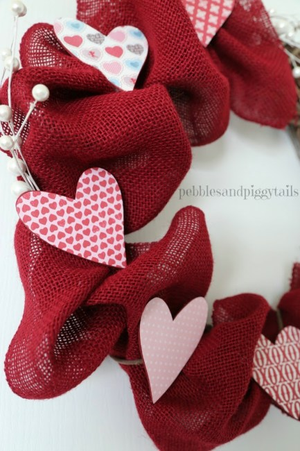 DIY Valentine Wreath with Burlap and Grapevine