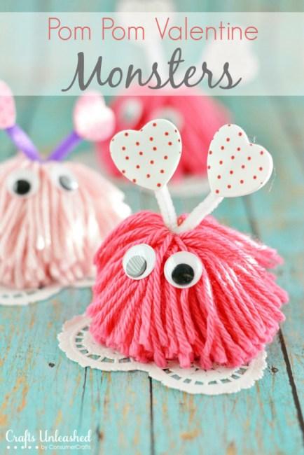 Pom Pom Valentine Craft Monster