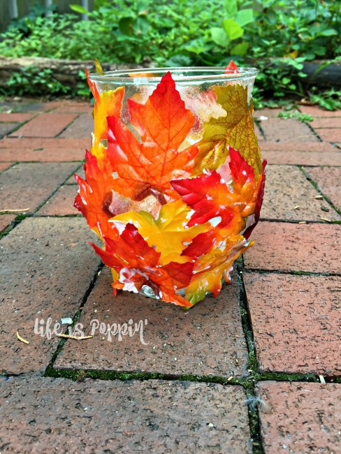 Easy Fall Mason Jar Candle Holder- leaves