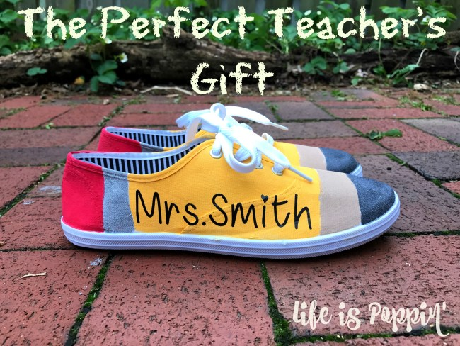 Teacher Gift Idea – Pencil Painted Canvas Shoes