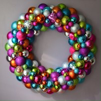 Custom order for an Etsy customer - a large rainbow ornament wreath with vintage ornaments.