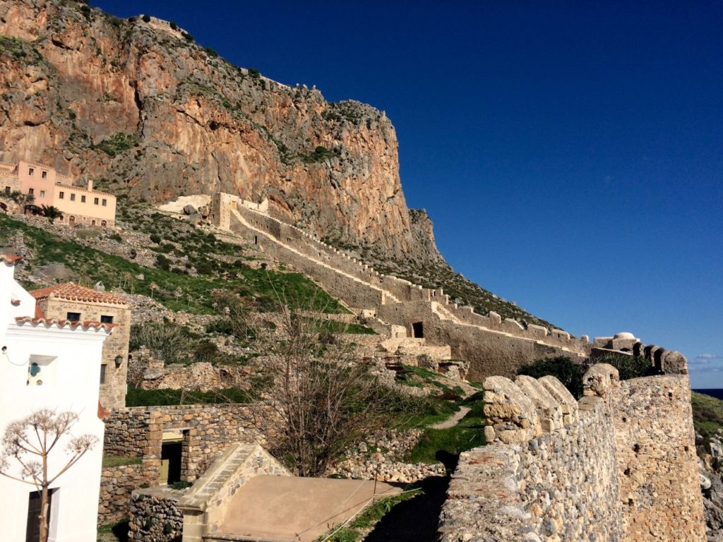 old fortifications built on the hills surrounding Monemvasia