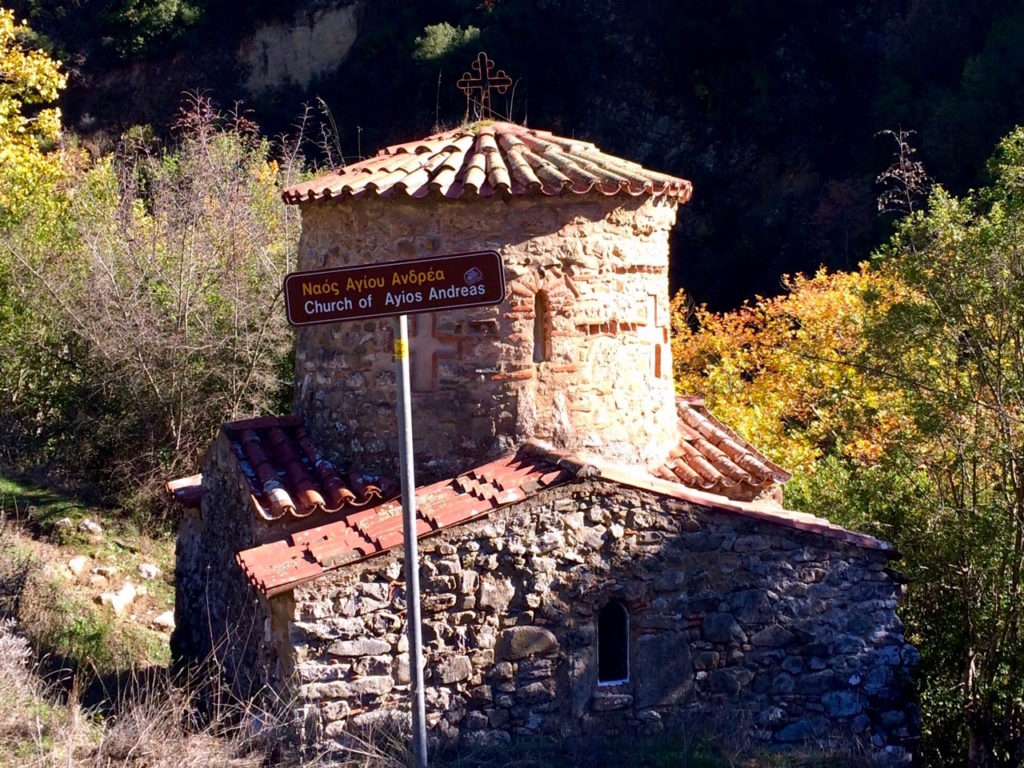 The old remains of saint Andreas church on the lousios gorge hiking route which is mainly intact and made of stone bricks