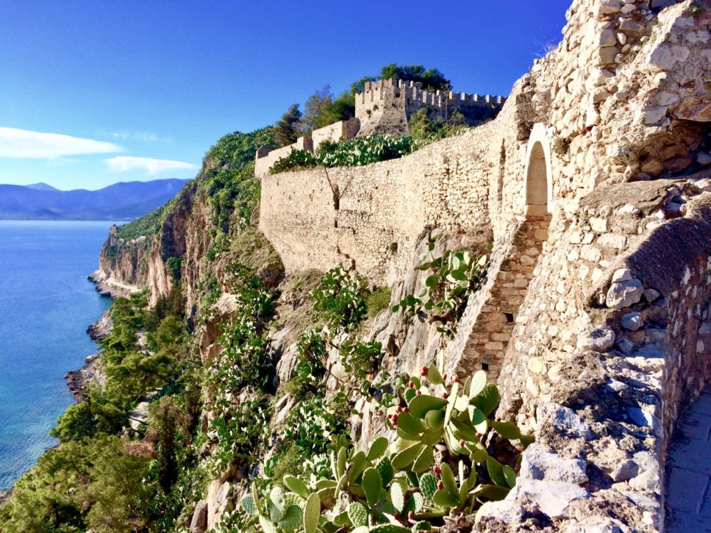 Nafplio old town with numerous cacti plants along the ancient stone walls