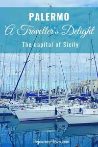 Pinterst pin Palermo, A Travellers Delight with photo of boats in the harbour.