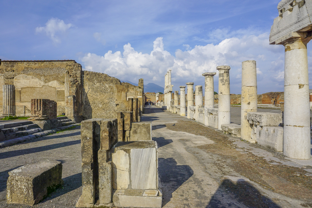 Pompeii with Mt Vesuvius looming in the background