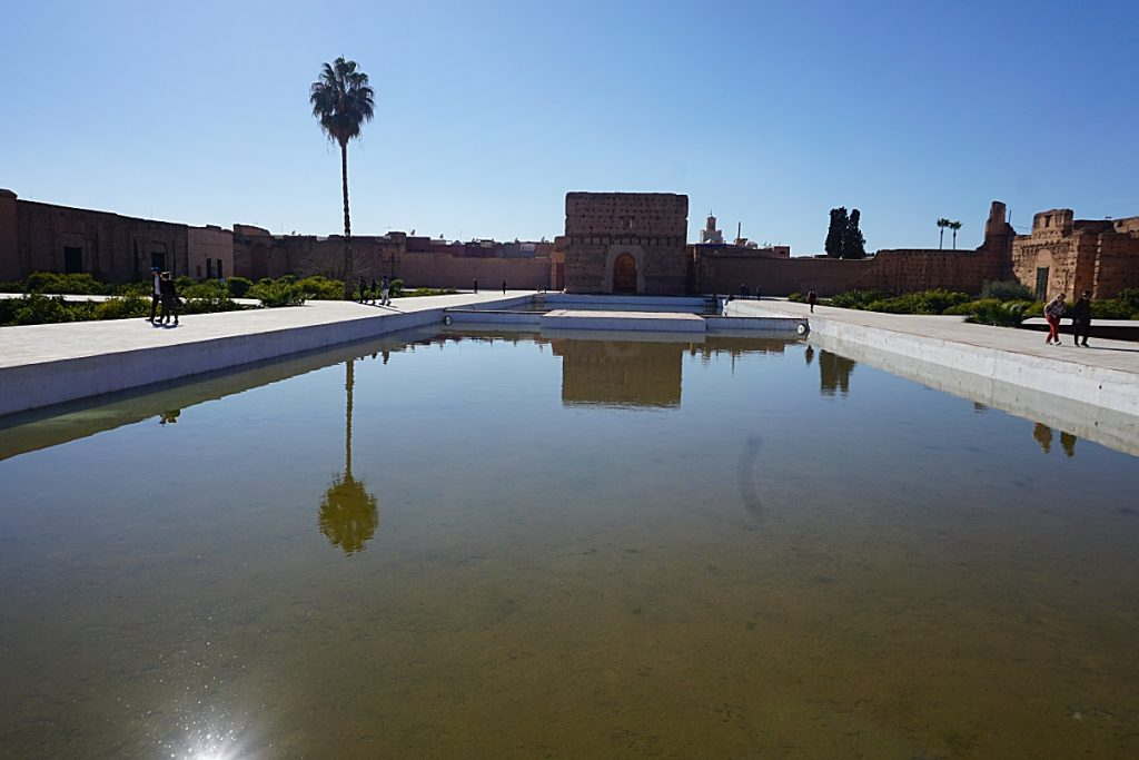 Large swimming within a walled area with other large buildings
