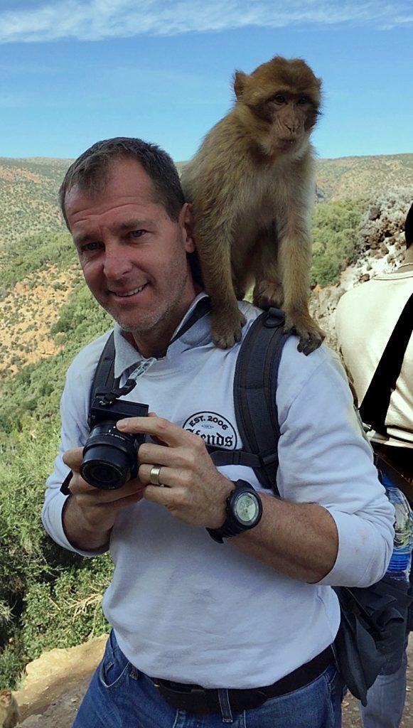 Brown monkey sitting on a shoulder