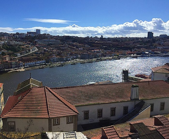 View of the Duoro River and Porto surrounds from the church grounds