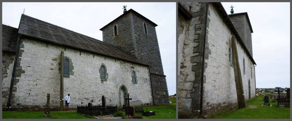 St Olav's Church with the Stone 'Needle' 9.2cm away from the church wall. The church is on the homeland of the viking kings