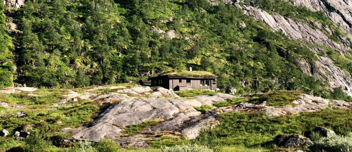 Wooden cabin with a grass roof - in the background is a mountain covered in green trees