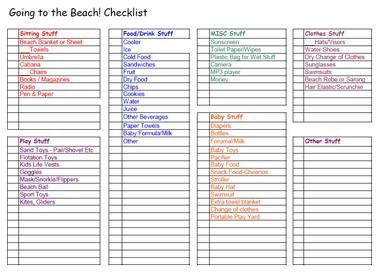 beach checklist