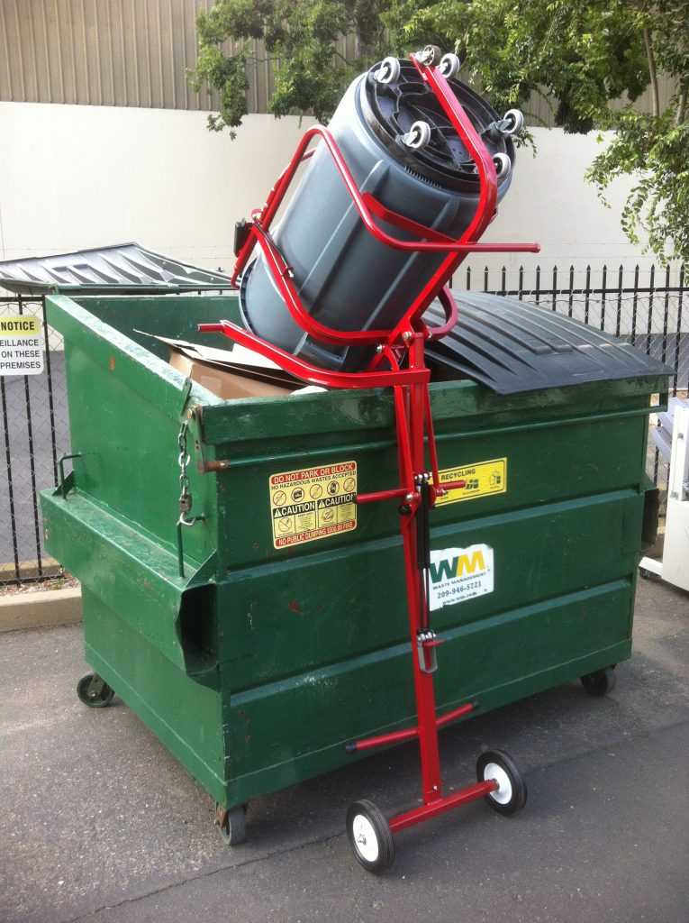 Refuse Can Lift Assistant finish and dump