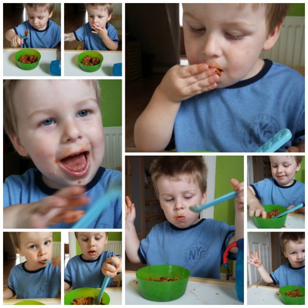 Collage of images of toddler eating Little Dish Pots and Pies