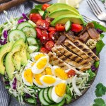 Low Carb Chicken Cobb Salad has all the classic flavors of the popular favorite with a simple vinaigretter. Made with lettuce, tomatoes, bacon, cucumber, avocado and cheese – perfect for lunch or your next potluck!