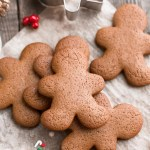 Top view of 5 low carb gingerbread man cookie