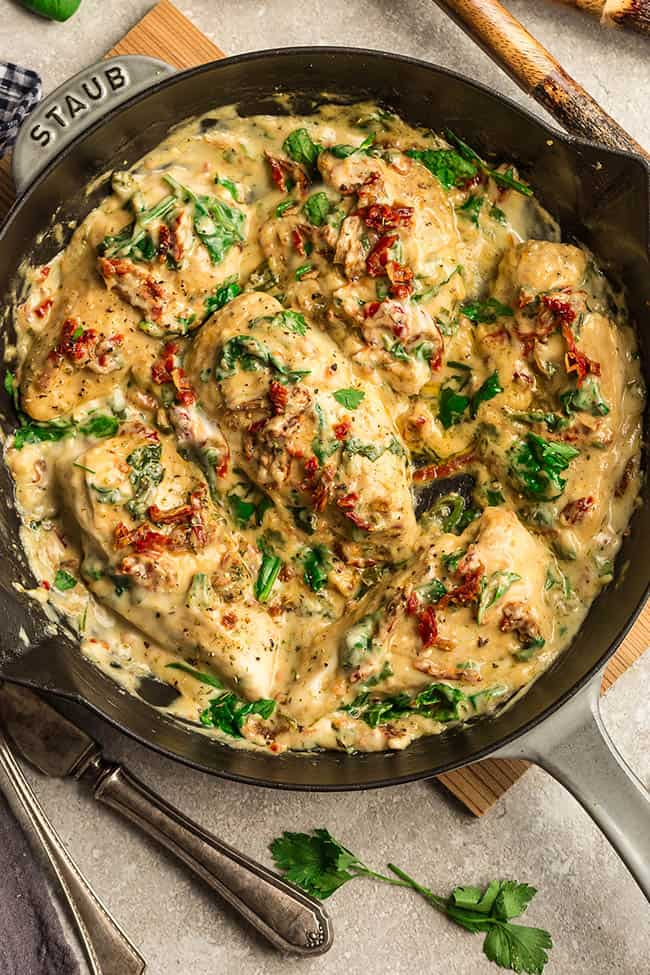 Close up of Creamy Sun-Dried Tomato Chicken in pan