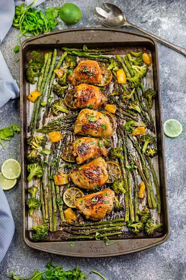 This Easy Honey Lime Chicken Sheet Pan recipe is the perfect easy dinner for busy weeknights. Best part of all, made in just ONE sheet pan and full of tender asparagus and broccoli. Best of all, is great for weekly Sunday meal prep or leftovers are great for lunch bowls for work or school.