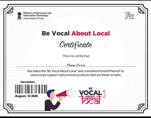 vocal for local pledge