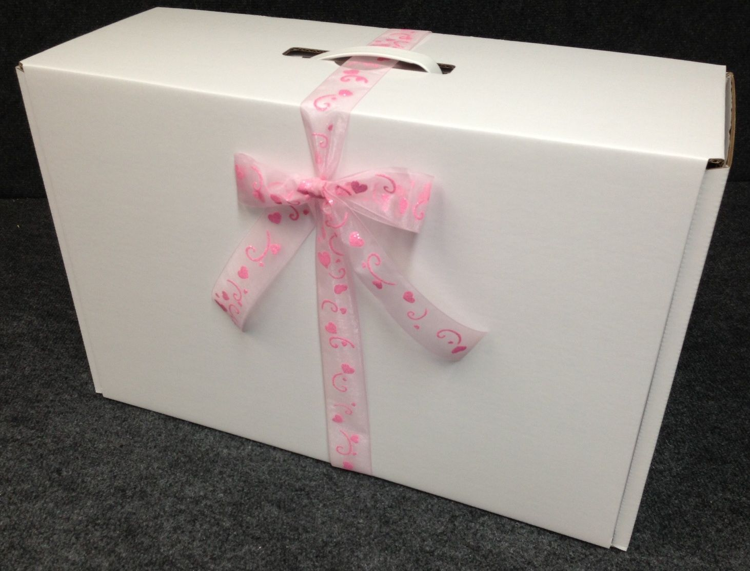 Lucie Small Wedding Dress Box With Sheer Heart Ribbon