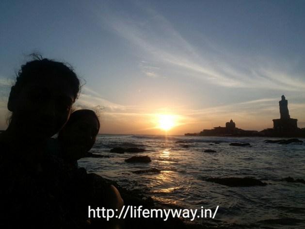 Two crazy girls enjoying sunrise