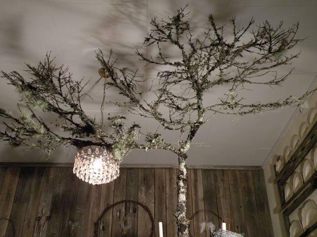 сухое дерево в дачном декорировании
