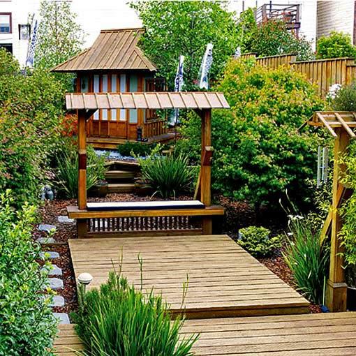 японский сад на даче своими руками переделка деревянные настилы