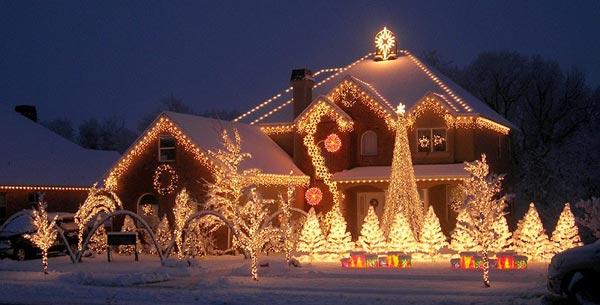 новогоднее освещение декорирование