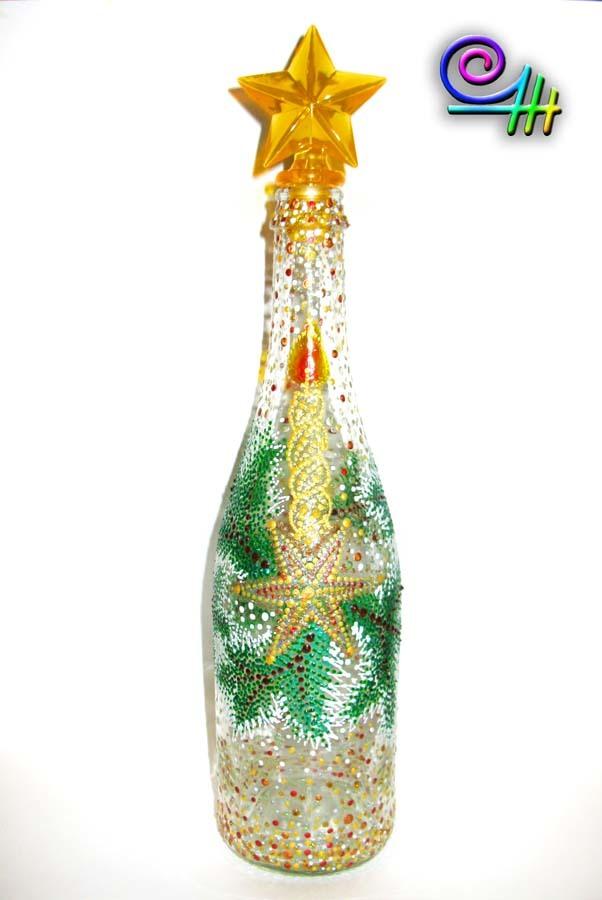 Роспись бутылки к новому году