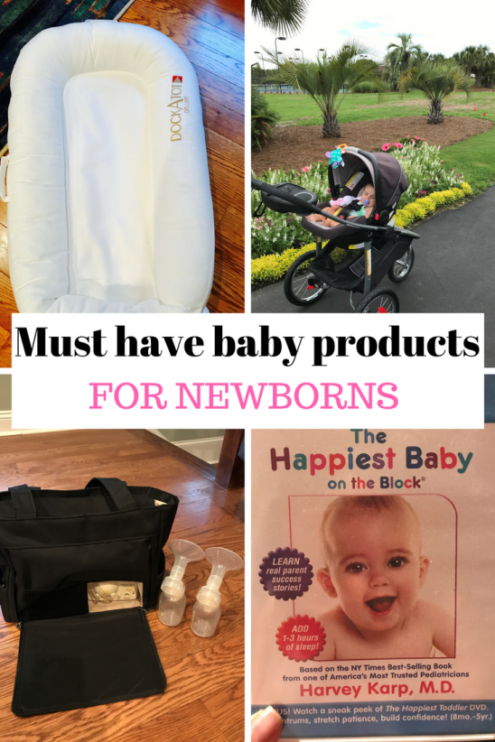 A list of must have baby products to help you survive the newborn phase or fourth trimester. Learn about some of my favorite products to help keep you sane and that even allow you a few hours of extra sleep!
