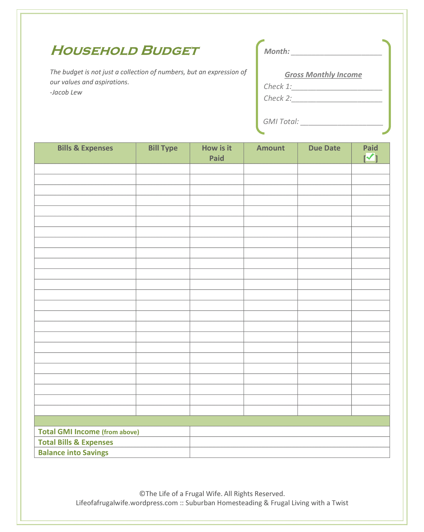 Good Ole Pen Amp Paper Bi Weekly Budget Printable