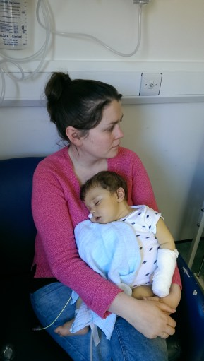 Exhausted boy (and mumma) during the albumin.