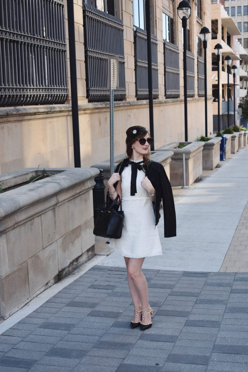 Blair Waldorf Style | Blair Waldorf Costume | Blair Waldorf Outfit | How To Be Blair Waldorf | Blair Waldorf Halloween Costume | Preppy Outfit | Tweed Dress | How to wear a tweed dress | Queen B