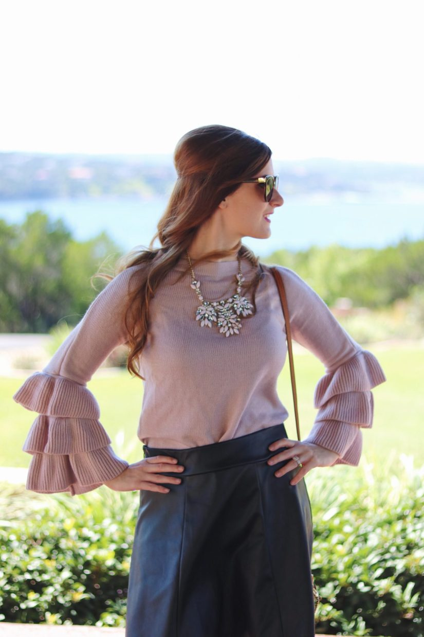 Pink Layered Ruffle Sleeve Pullover Sweater | shein review | shein | how to shop at shine |