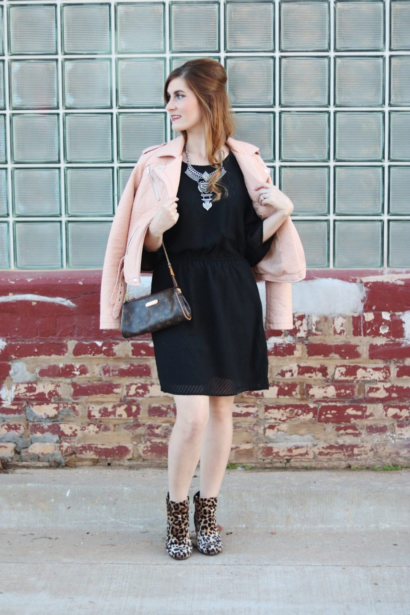 LBD Date Night | How to wear a little black dress | little black dress| lbd 2017 | lbd casual  |lbd leopard shoes | statement necklace and lbd  | lbd leather jacket outfit