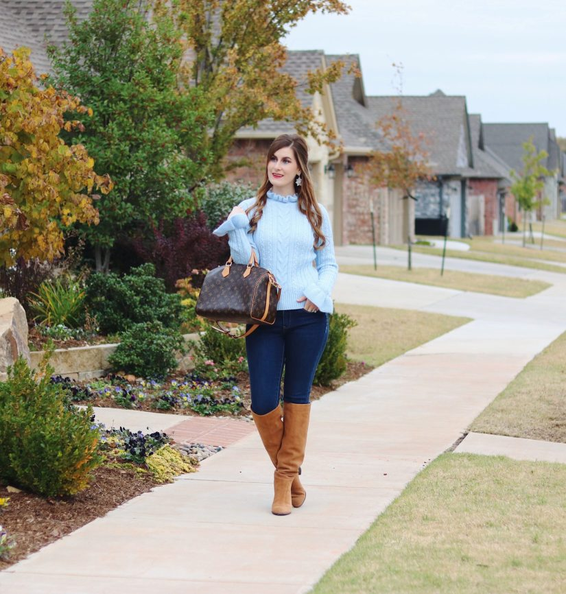 what wear on Thanksgiving day | cable knit sweater | ruffle sweater  | cable knit | fall outfit | thanksgiving outfit 2017 | casual thanksgiving outfit 2017  | sweater and jeans