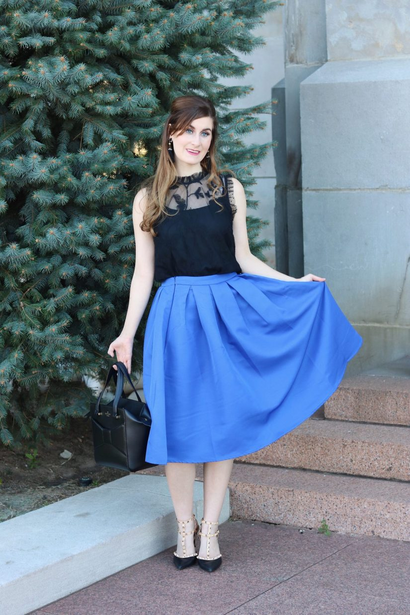 midi skirt outfit | midi skirt fall |midi skirt pleated | black and blue outfit | blue midi skirt and black | Shein Review | Shein Outfit