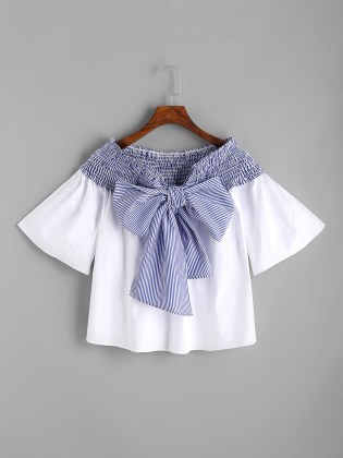 http://us.shein.com/White-Contrast-Striped-Bow-Tie-Shirred-Top-p-346622-cat-1733.html
