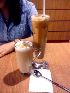 cafe latte for a lighter taste and iced caramel latte